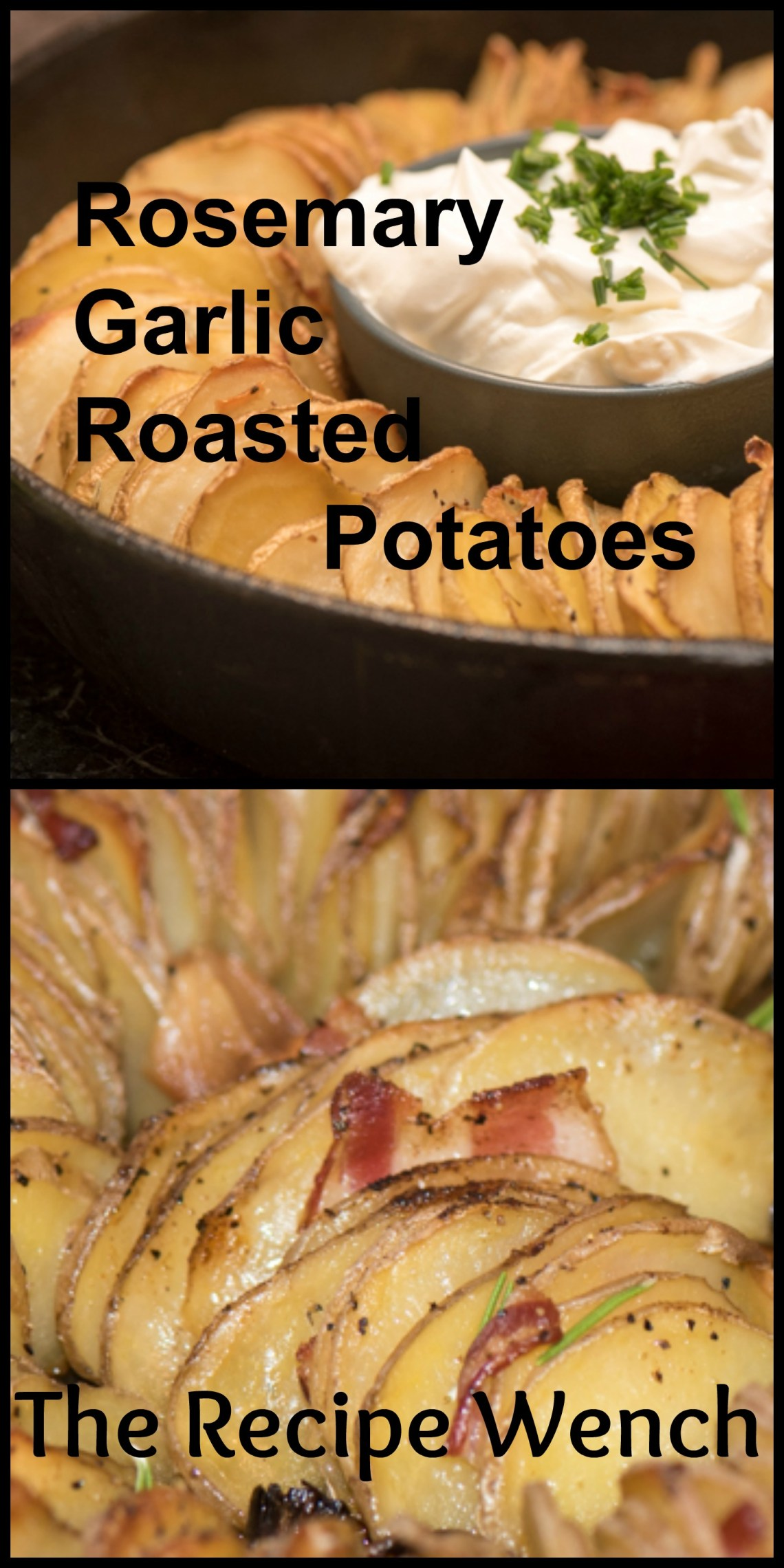 Rosemary garlic roasted potatoes - super tasty and simple. Thinly slice potatoes and layer in ovenproof dish for a pretty presentation. Top with sour cream   The Recipe Wench