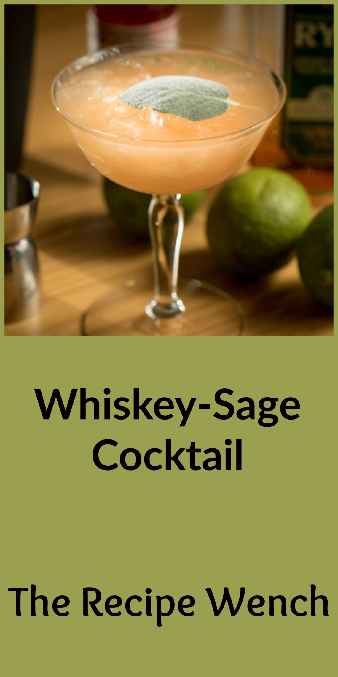 Sexy whiskey sage cocktail unites spicy whiskey and sage to bring you a cocktail perfect for sipping in the cooler winter months. It's a handsome drink too! Win! | The Recipe Wench