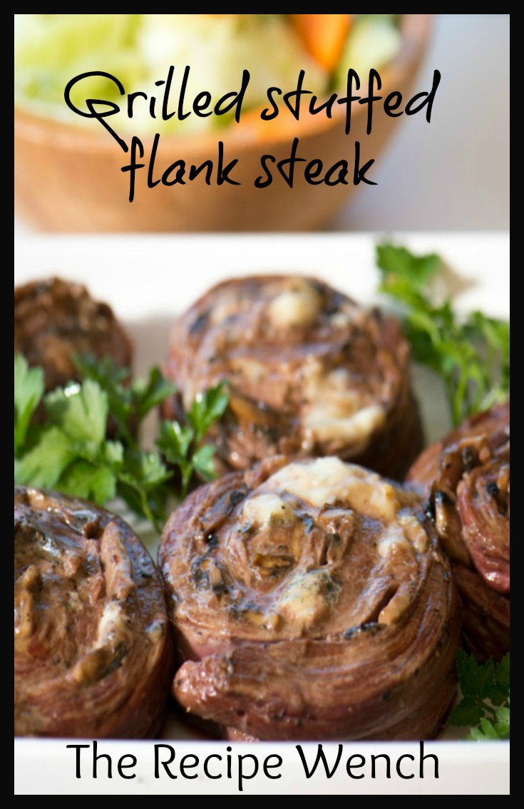 Grilled stuffed flank steak -- easy enough for a weeknight; fancy enough for company! | The Recipe Wench
