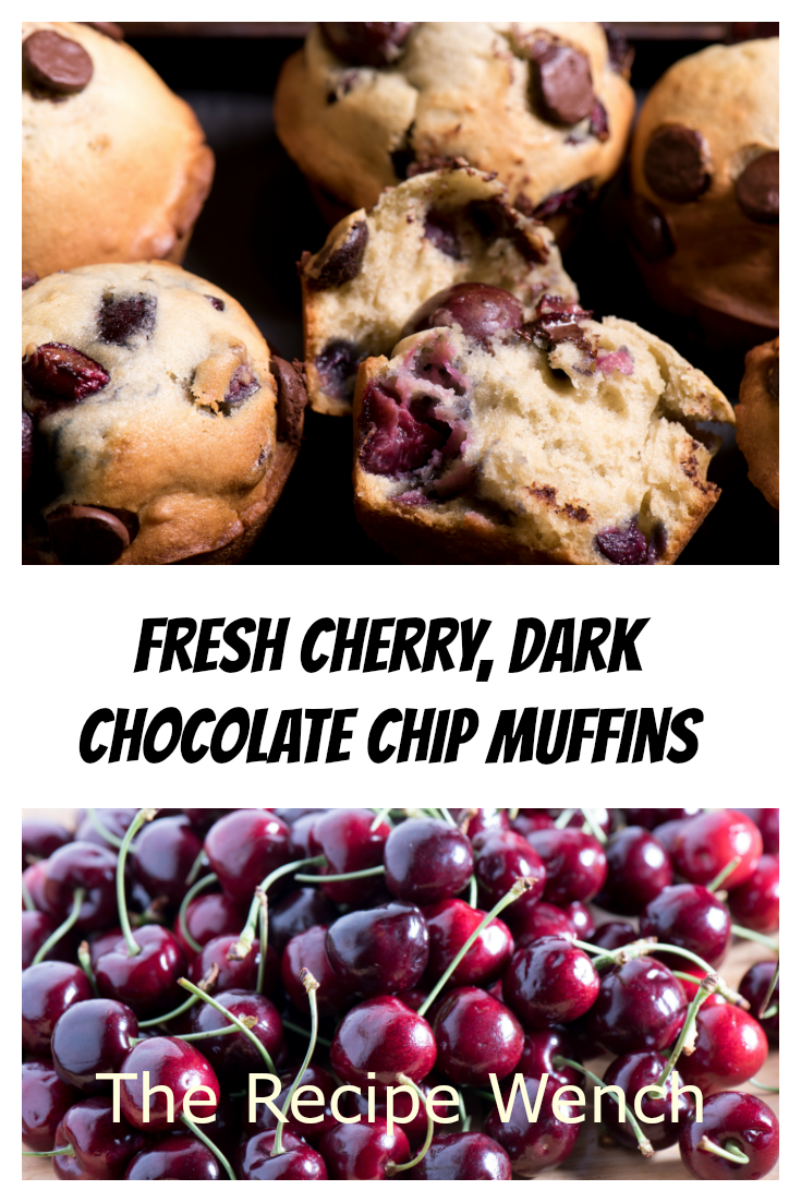 Fresh cherries, rich dark chocolate. What's not to love about these fresh cherry muffins?! | The Recipe Wench