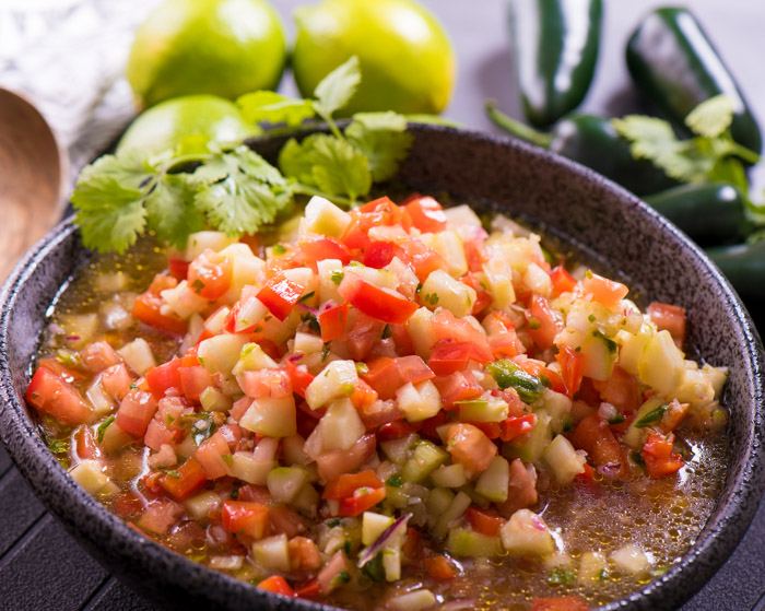 Gazpacho is a super healthy and easy dish -- a little olive oil, seasonings and vegetables. Who wouldn't love that?!