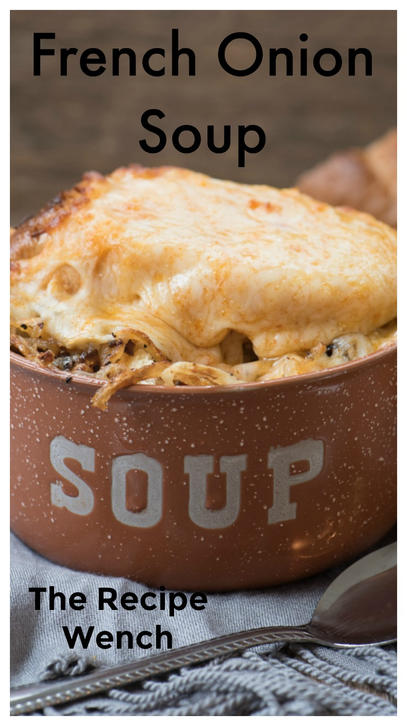 A quick and simple French Onion soup recipe. Top with hearty French bread and melty cheese for a delicious meal! | The Recipe Wench