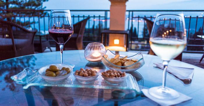 Drinking wine at Hotel Timeo Taormina Sicily