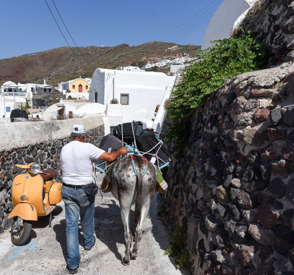 Greece and Santorini - narrow alleyways to our apartment