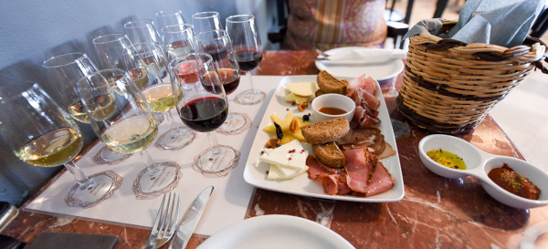 Greece and Santorini - snacks at Sigalas Winery