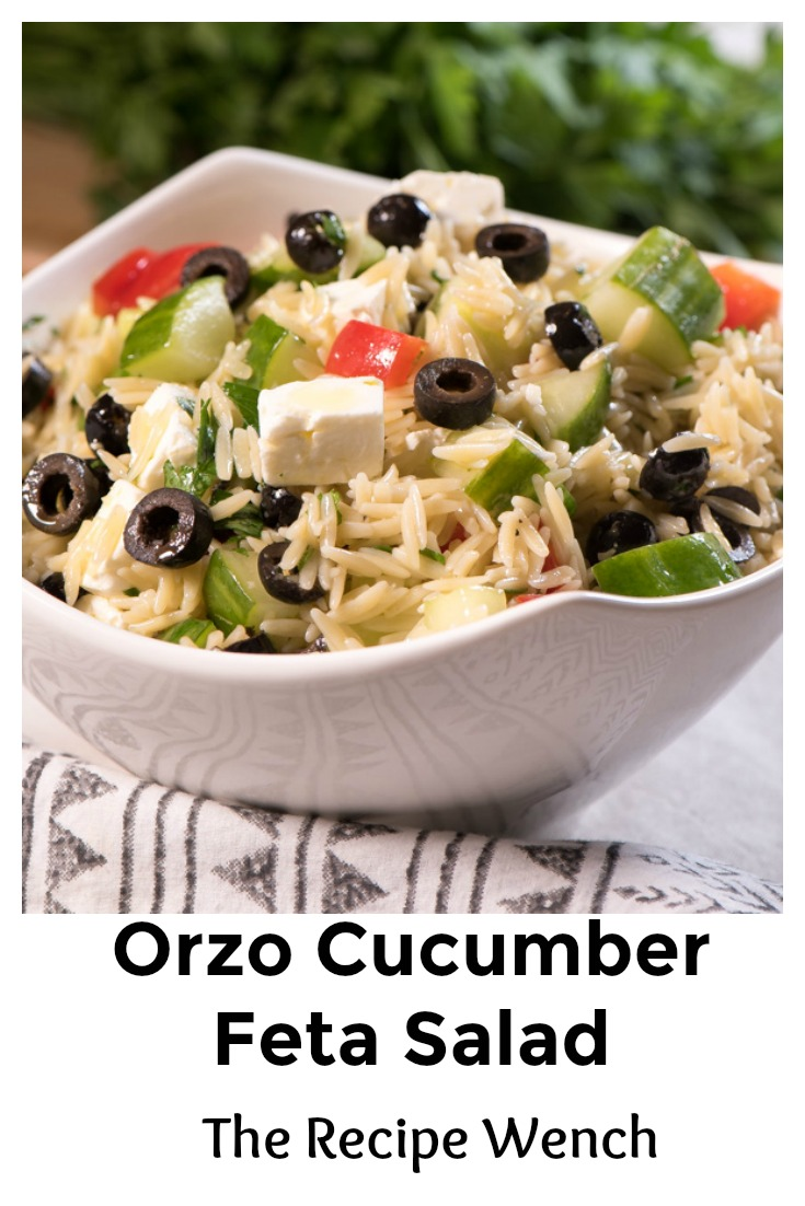 Orzo Cucumber Feta Salad - drizzle with a little Greek dressing and what a side dish! - Enjoy! | The Recipe Wench