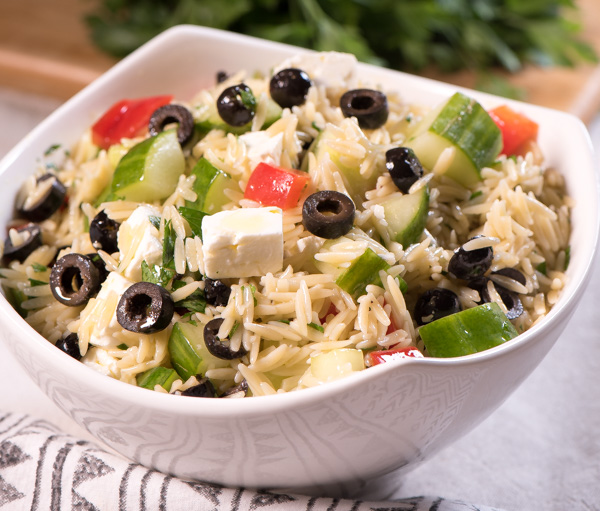 Greek Inspired Orzo Salad with Feta