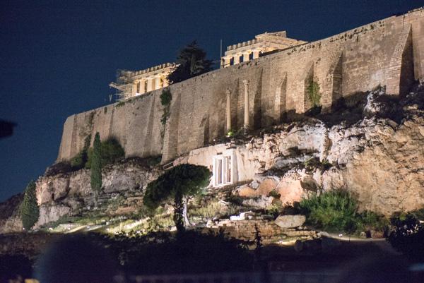 Athens Santorini Acropolis at night