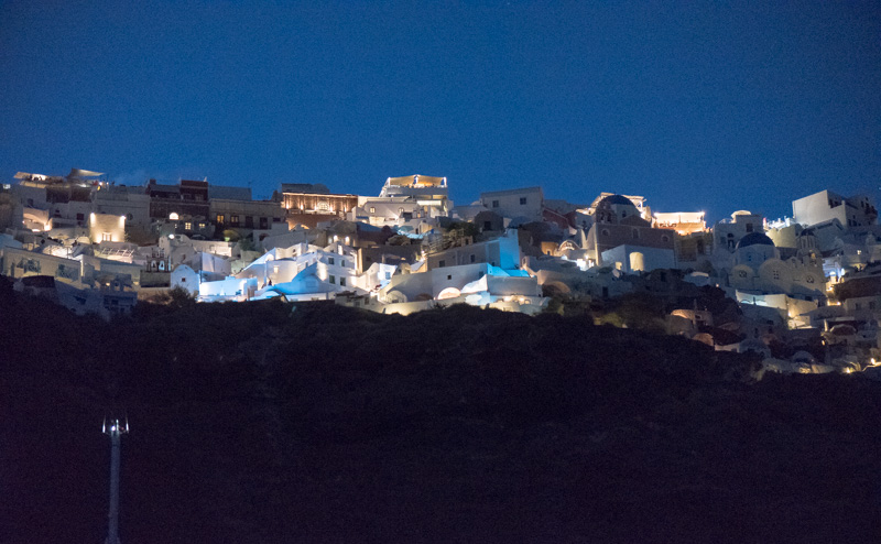 Athens Santorini view of Oia at night