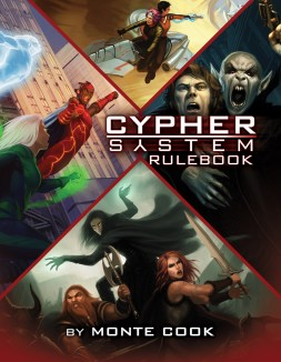 Cypher System Corebook cover. Shows images from superhero, horror, scifi, and fantasy scenarios