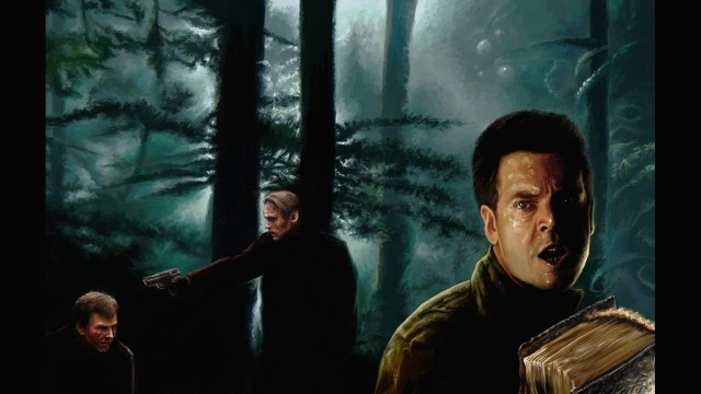 A man holds a book with a fearful expression in the forest, a man has a gun on a third person in the background