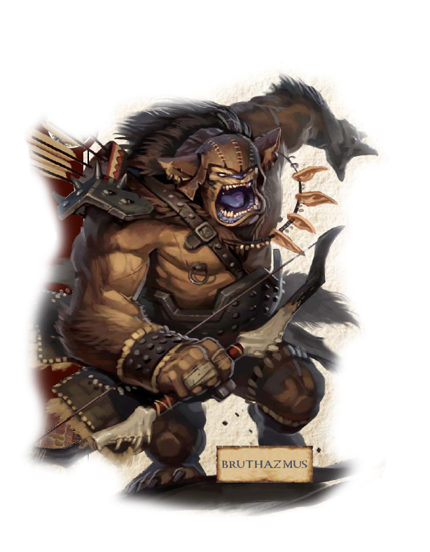 Bruthazmus the Bugbear charges forward, you can see his necklace of elf ears swinging in the air