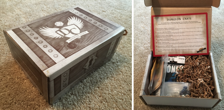 Shows the box before and immediately after opening. Box looks like a small chest with the logo on the top. The box is filled with prown paper packing, a sheet about the contents, and the loot!