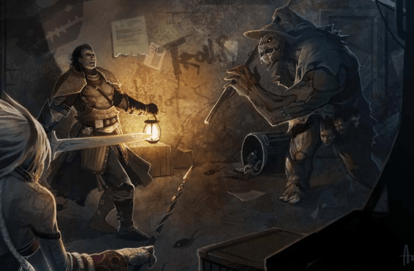The scarecrow menaces two adventurers in the tower.
