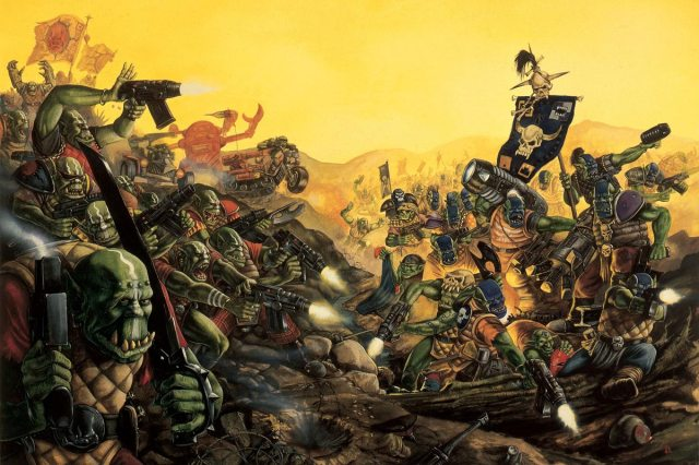 A horde of green orks with a yellow sky