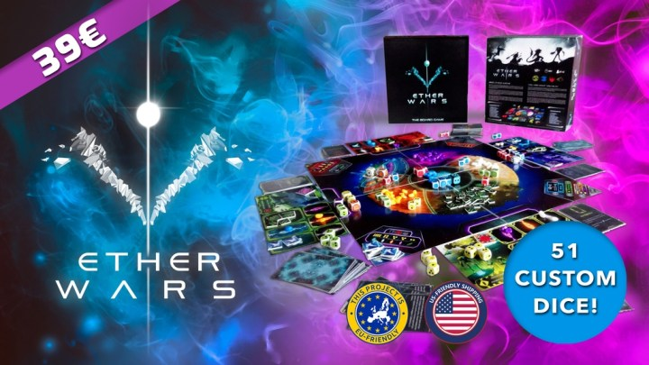 Ether Wars promo image. Shows the game with a nebula in the background