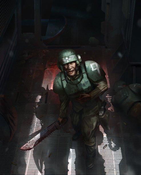 A member of the imperial guard looks up fearfully as a shadow looms over him.