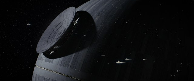 The dish is installed on the death star as destroyers fly about it