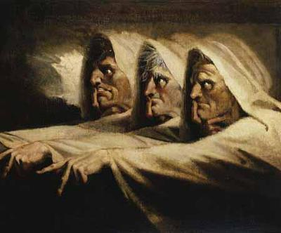The Three Witches painted by Henry Fuseli shows three hagsin white cloaks. They point off screen and have their finger to their lips as they point.