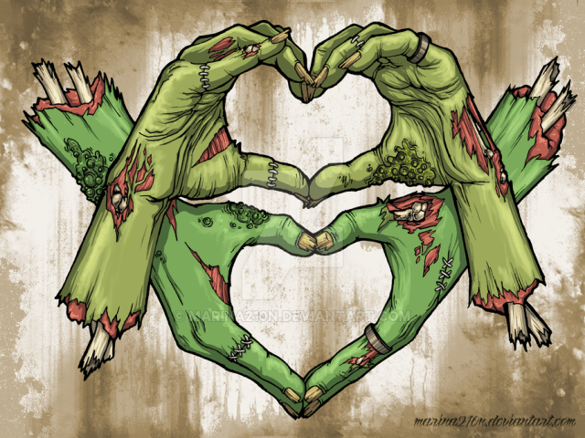 Two sets of zombie hands form hearts