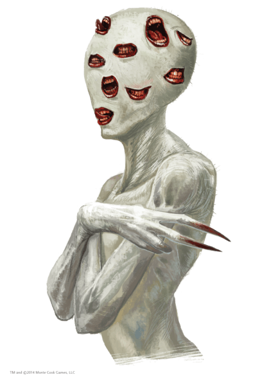 A pale creepy figure with long fingers and no eyes, but mouths covering it's head