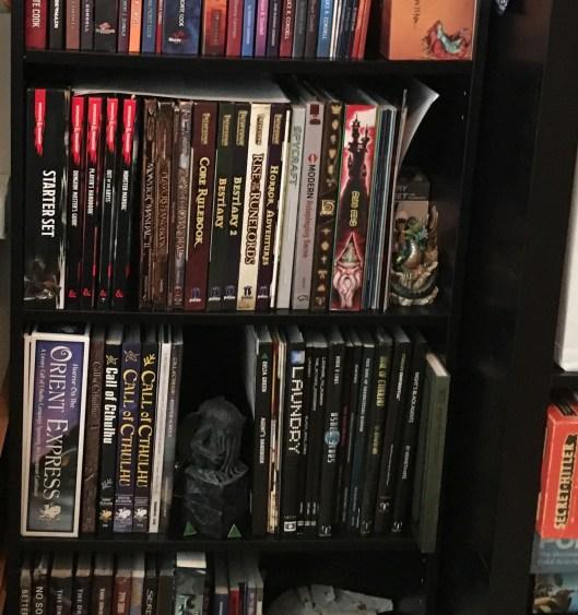 Bookshelf filled with RPG books