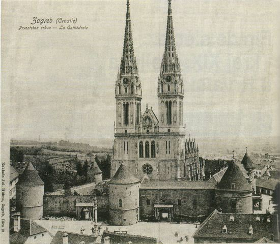 An old postcard picture showing the cathedral in Zagreb