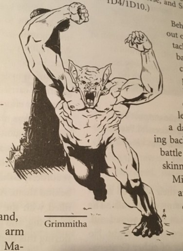 A terrifying muscular humanoid runs towards the camera. It has the head of a bat
