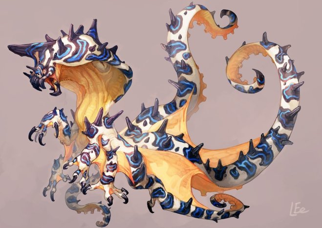 A dragon-like sea creature with blue rings, and spikes and 4 legs ending in claw, four ending in tentacles