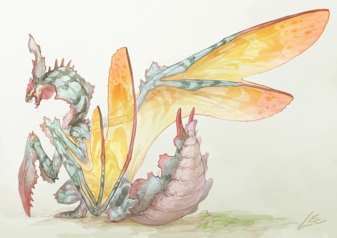 A dragon like creature with front arms like a preying mantis, and dragonfly like wings