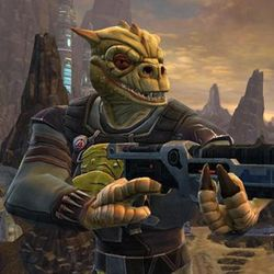 A trandoshan alien stands with a gun pointed off camera