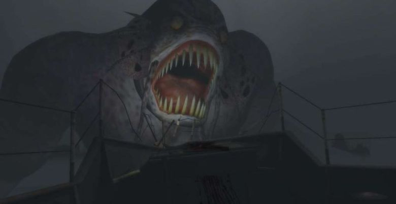 Father Dagon rises over a boat, a huge manacing form with large teeth