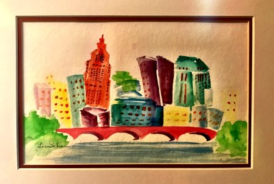 Lisa Schorr, downtown Cbus watercolor