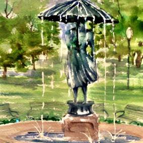 LIsa Schorr, Umbrella Girl watercolor