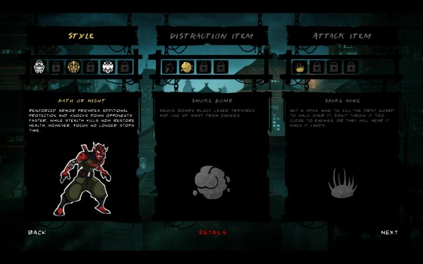 Mark of the Ninja Screenshot Wallpaper Upgrades and Archetype choice600px