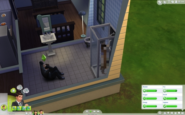 The Sims 4 Review Screenshot Wallpaper Sit Ups in the Bathroom