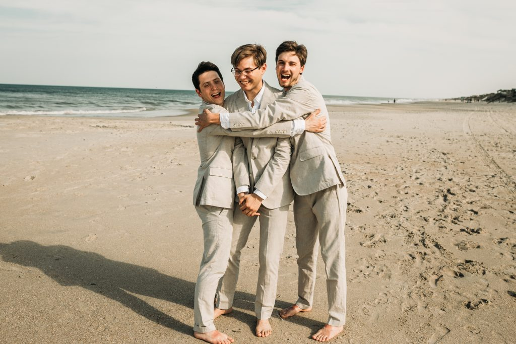 Groom and groomsmen photo at corolla beach