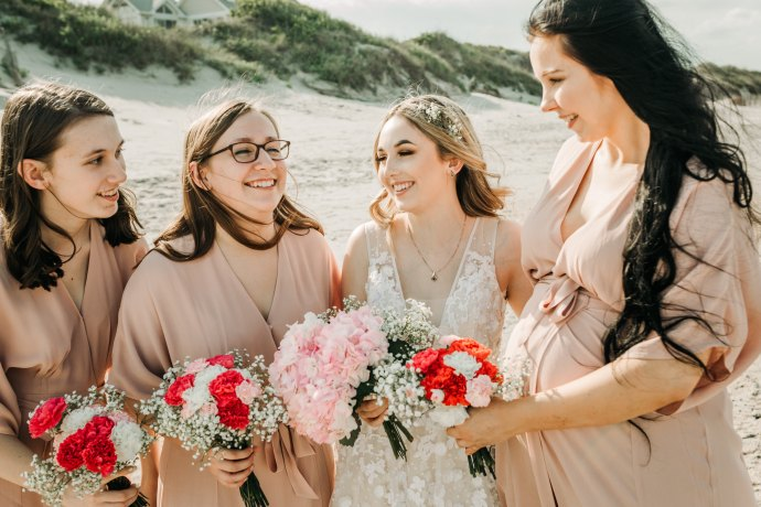 Bride and bridesmaids photo at corolla beach