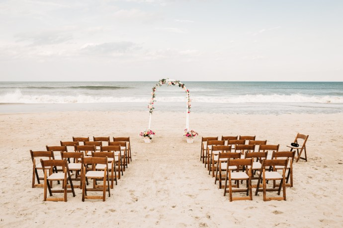 Ceremony setup photo at corolla beach