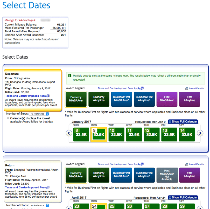 American Airlines - Select Travel Date