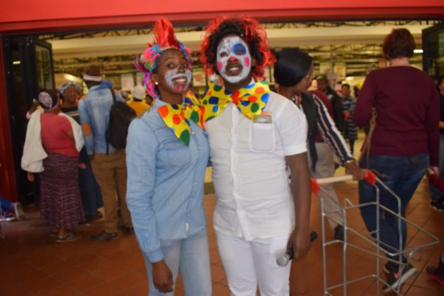 Festival clowns, from left, Athule Mvana with Odwa Menziwa today Picture: ABONGILE SOLUNDWANA
