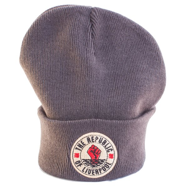 Grey Republic of Liverpool beanie hat with beige logo