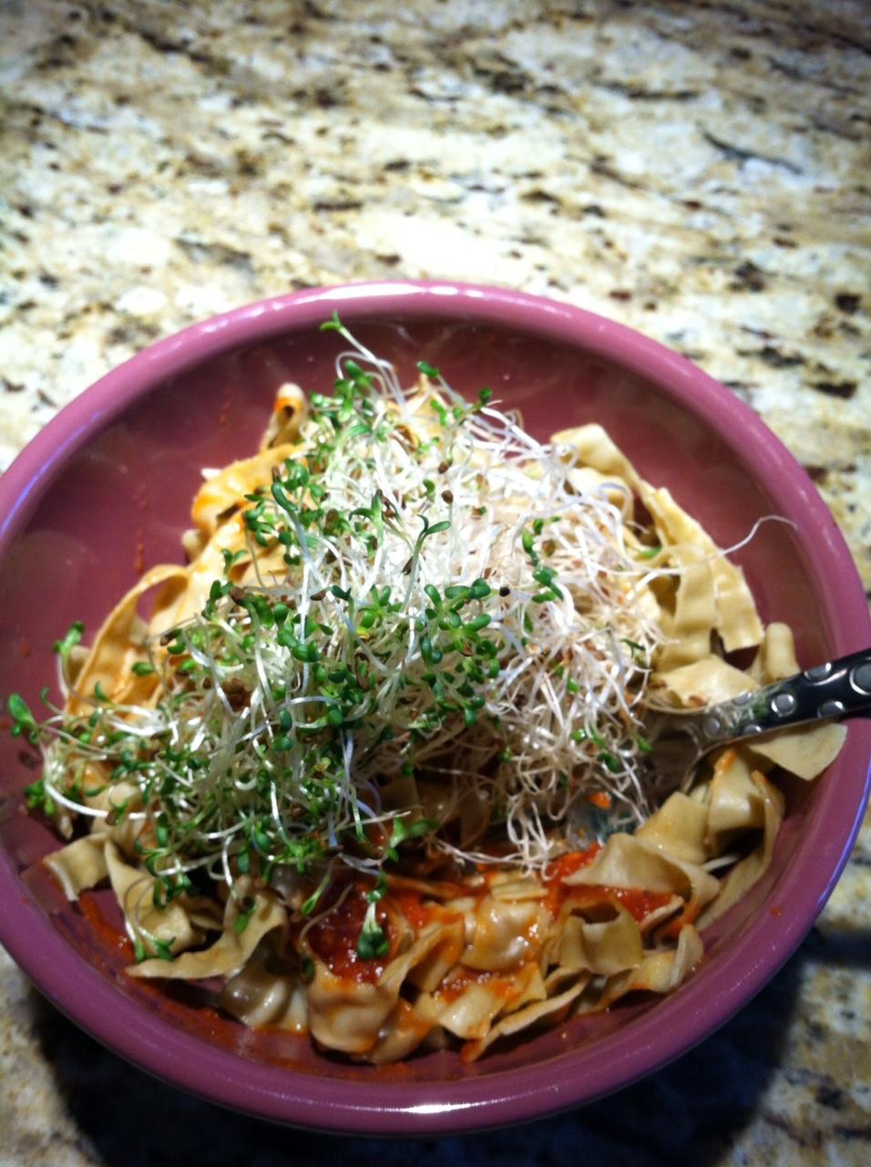 mungbean pasta w alfalfa