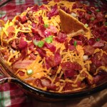 Cheesy Nacho Dip With Beef, Bacon, And Hot Dogs