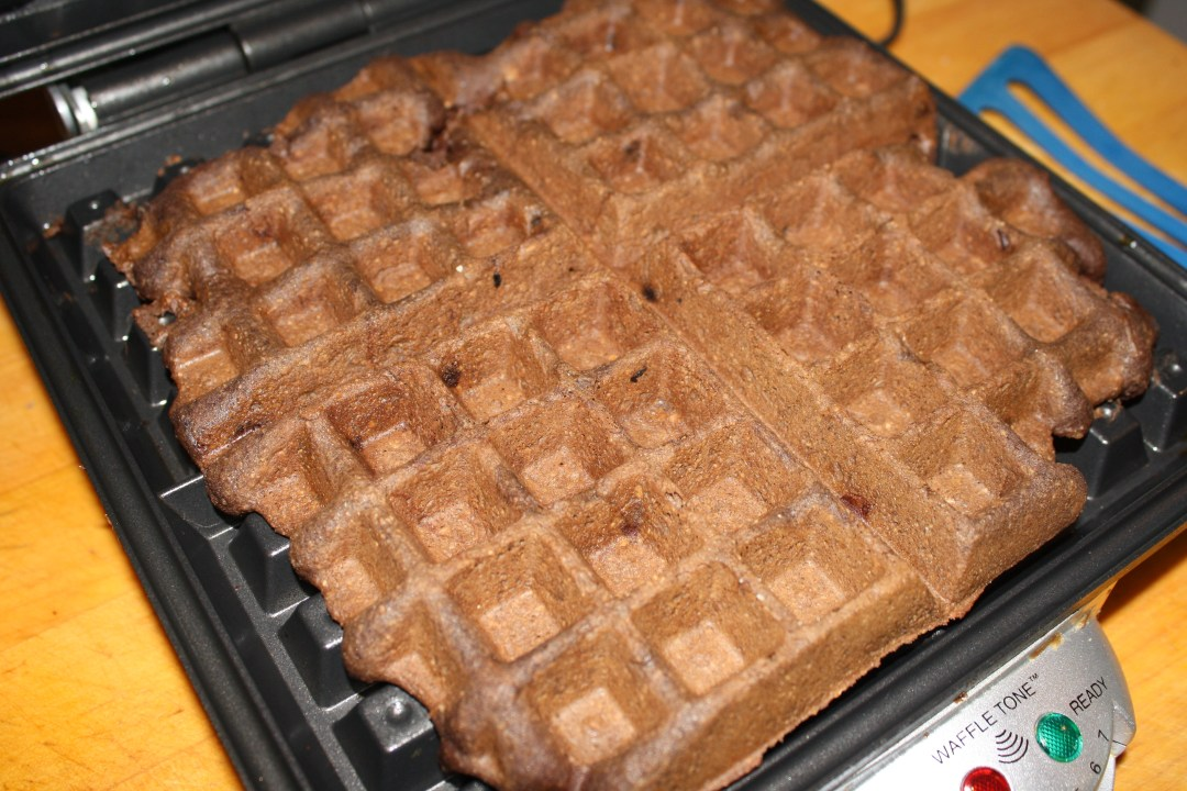 chocolate waffles in iron