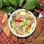 Raw Zucchini Spaghetti Antipasto Salad