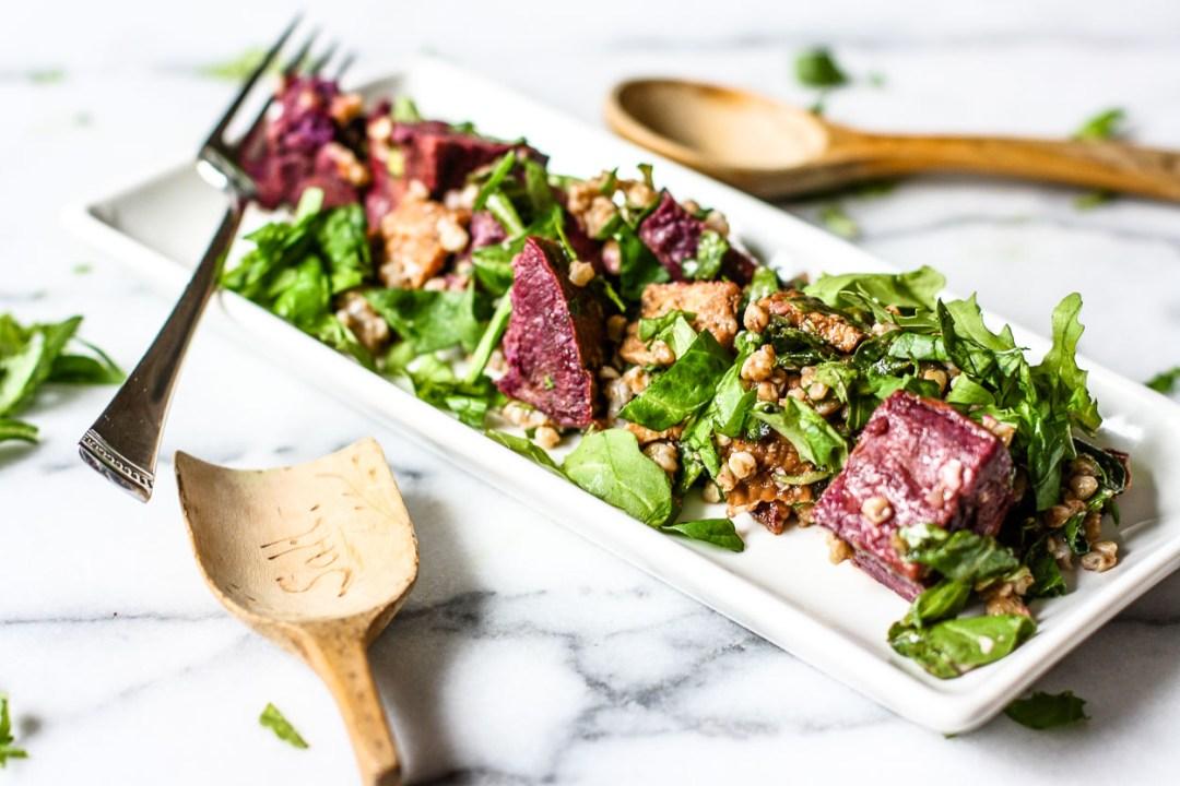 buckwheat sweet potato arugula salad