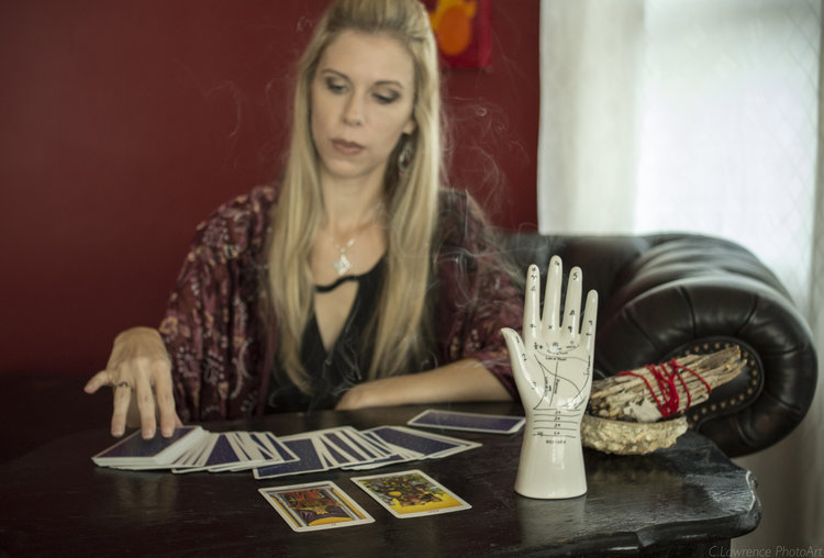 Photo of Brandy Joy with Tarot Cards