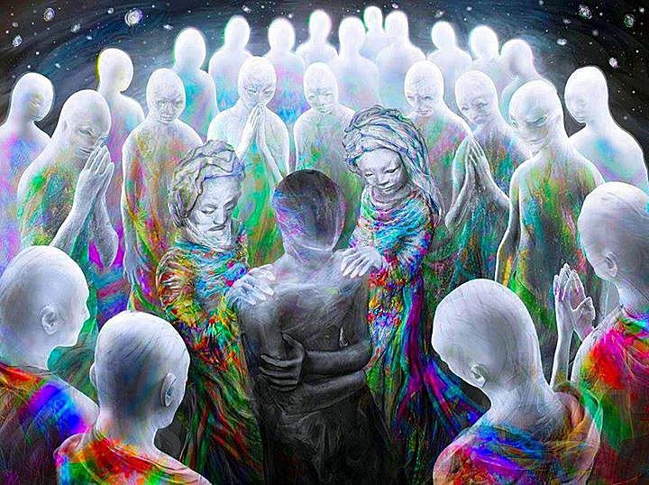 Spirit Beings standing around sick person to represent Celestial Gathering
