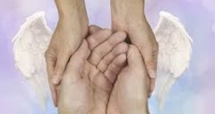 Angel wings on hands, helping another.